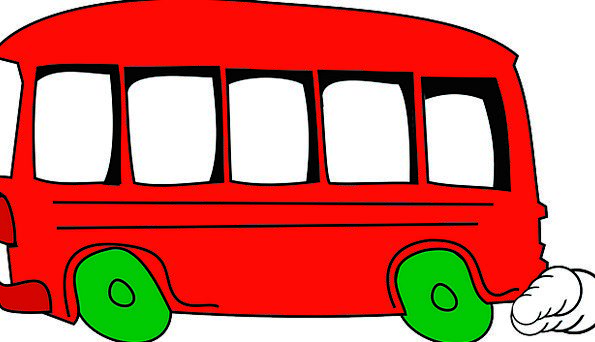Bus Car University Red Bloodshot School Mini Small