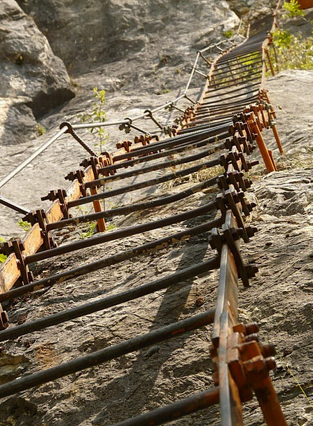 Climbing Uphill Skull Iron Ladder Head Metal Clamb