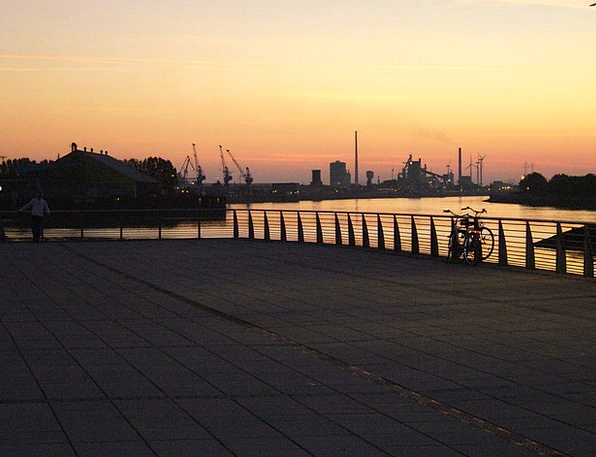 City Urban Buildings Sundown Architecture Sky Blue