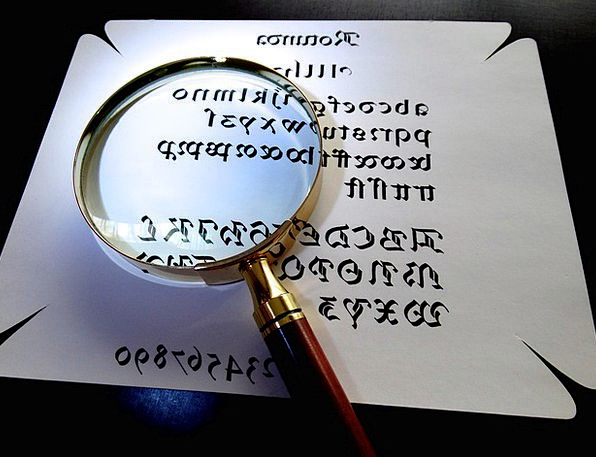 Magnifying Glass Lettering Larger View Calligraphy