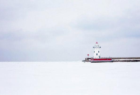 Lighthouse White Michigan Nautical Maritime Cold W