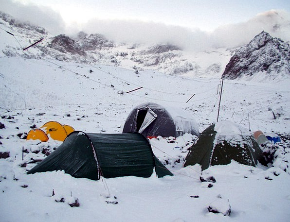 Snow Snowflake Standard Base Camp Site Stock Aconc