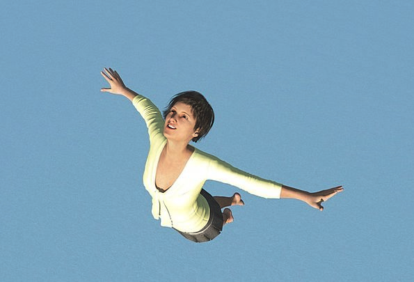 Women Females Hurdle Fly Hover Jump Sea With Both