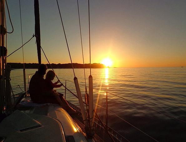 Sailing Boat Vacation Sundown Travel Sea Marine Su