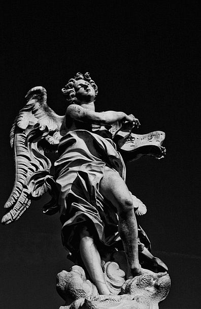 Angel Seraph Figurine Black And White Statue Art P