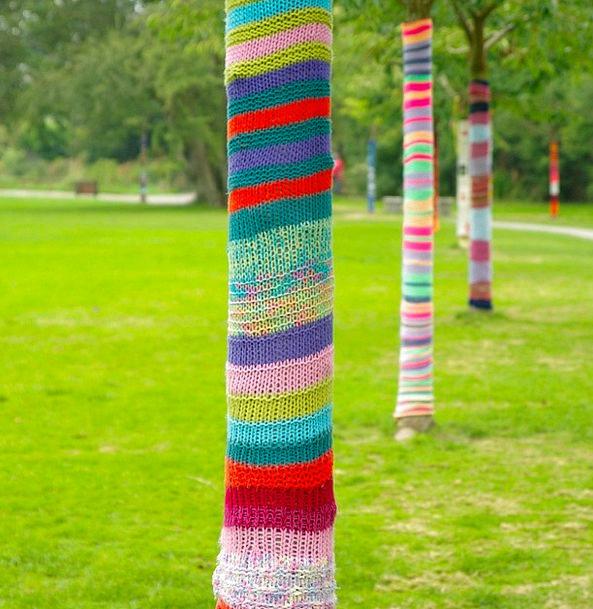 Art Painting Plants Knitting Joining Trees Trunks