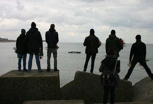 Silhouettes Outlines Public Scheveningen People Fl
