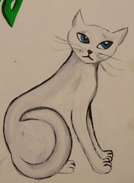 Cat Feline Sketch Image Copy Drawing Painting Arti