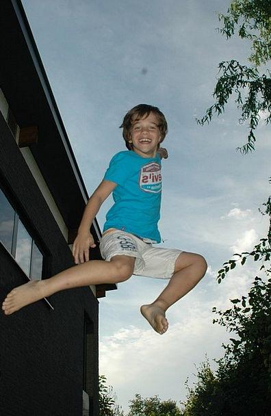 Jump Hurdle Lad Sky Blue Boy Jumping Fun Amusing M