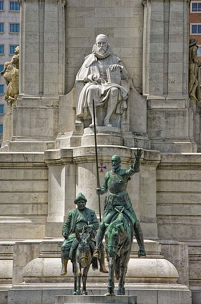 Don Quixote Servantes Madrid Statues Figurines