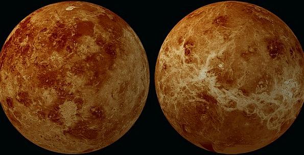 Venus Earth Hemisphere Planet Front Side Back Spac