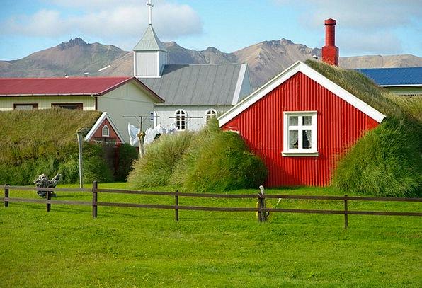 Iceland Ecclesiastical Lawn Grass Church House Hou