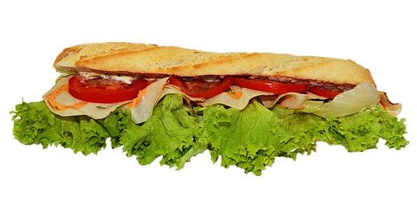 Baguette Drink Food Snack Nosh Sandwich Salad Wurs