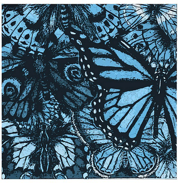 Butterflies Nerves Collection Blue Azure Collage T