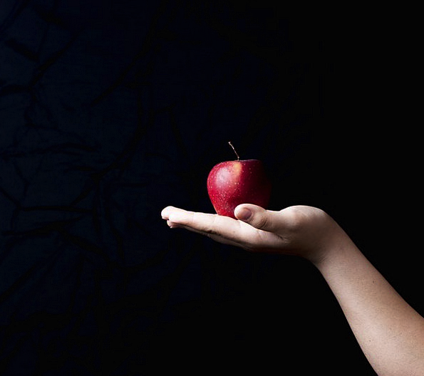 Apple Pointer Black Background Hand The Background