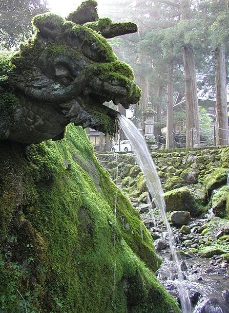 Japan Dragon Zen Sculpture Statue Fountain Moss Ca