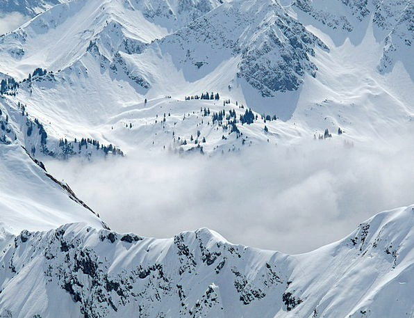 Allgäu Horn Winter Season Foghorn Mountains Crags