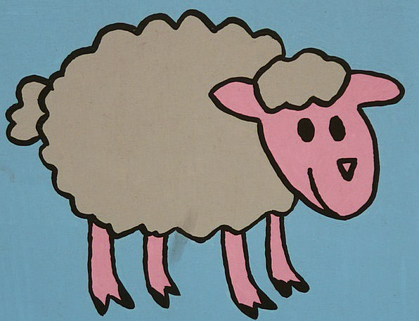 Sheep Ewe Drawing Sketch Cartoon Character Funny H