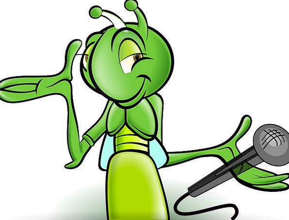 cricket cartoon animation microphone insect bug interview