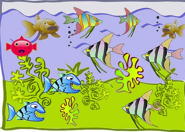 Fishtank Animation Aquarium Cartoon Exotic Water Aquatic Fish