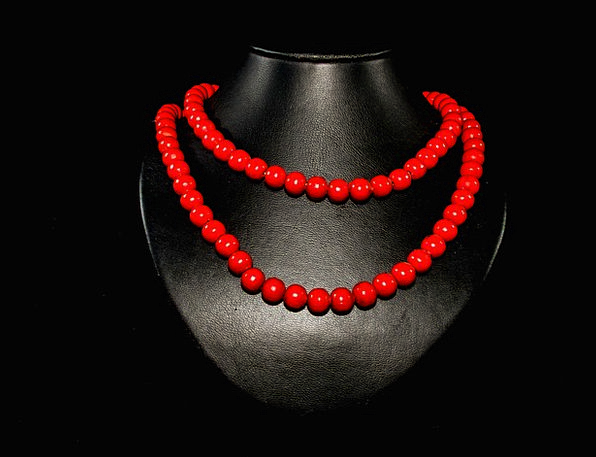 Pearl Necklace Jewellery Wood Pearl Necklace Red D