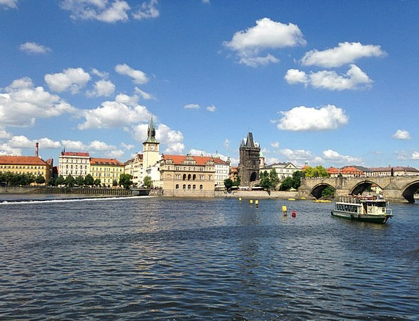 Prague Steamer Vltava River Stream Charles Bridge