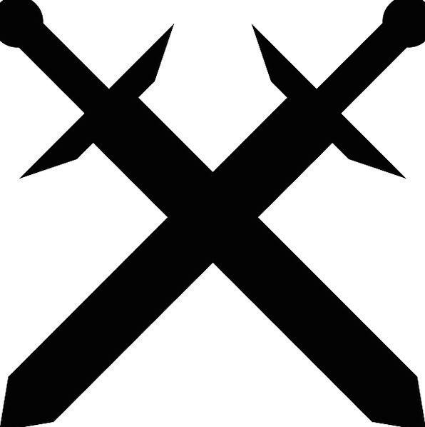 Swords Blades Traversed Medieval Feudal Crossed Sharp Old