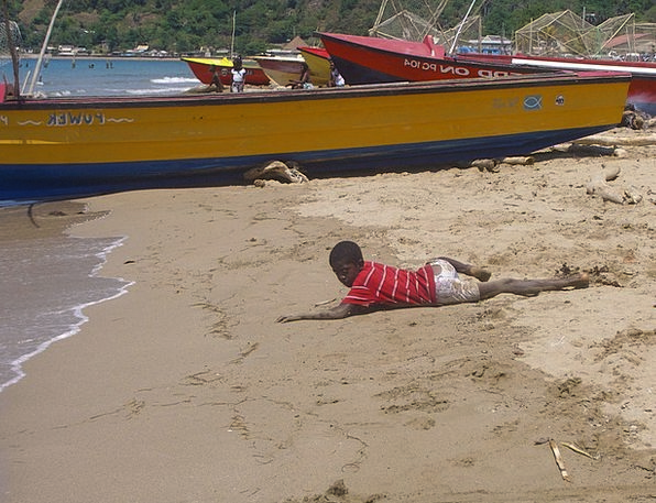 Jamaica Harbor Maria Port Boat Ship Boy Sand Lad