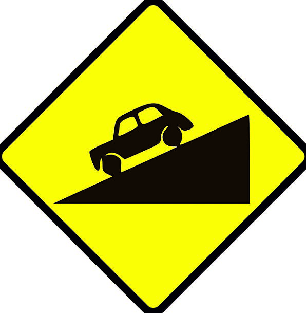 Road Sign Traffic Carefulness Transportation Steep