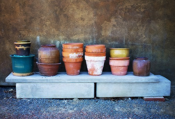 Flower Pots Soil Piles Loads Terracotta Painted Ti