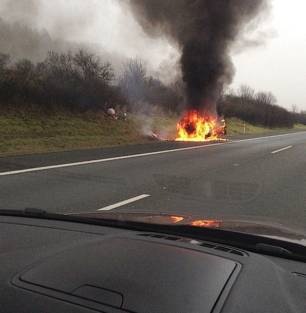 Accident Chance Thoroughfare Burning Car Highway F