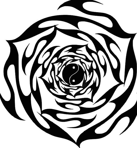 Rose Design Flowery Tattoo Signal Floral Tribal Ethnic Black