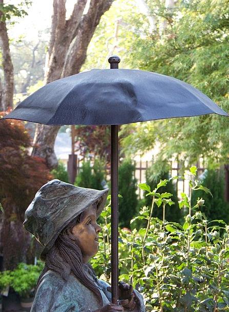 Statue Figurine Bronze Garden Statue Umbrella Cano