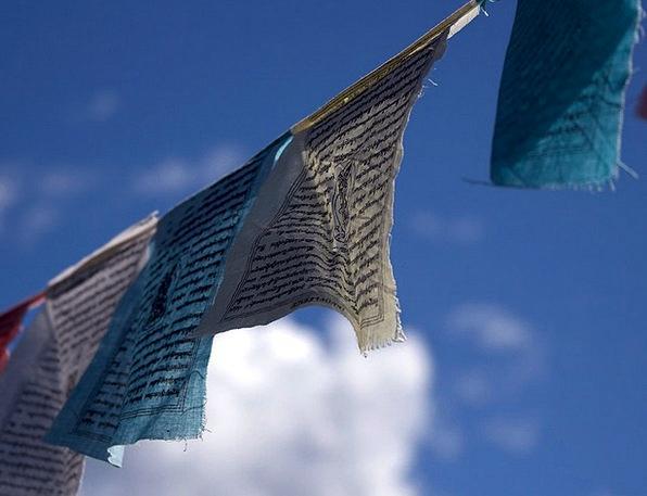 Prayer Flags Wind Breeze Buddhism Sky Blue Nepal P