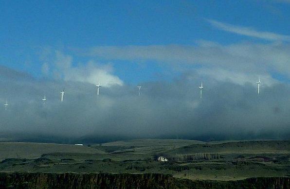 Windmills Sky Blue Low Clouds Hill Side