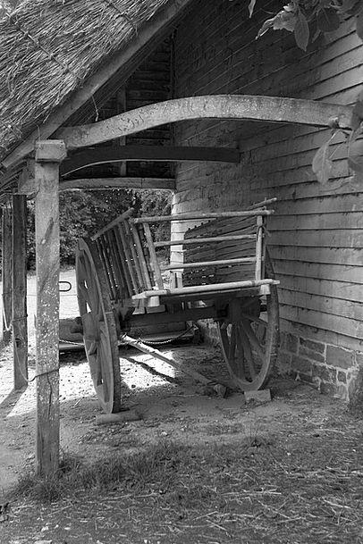 Ox Cart Shelter Housing Timber Construction Barn O