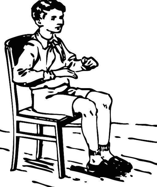 Boy Lad Scholar Sitting Sedentary Student Chair Ch