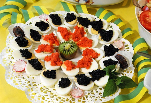 Buffett Drink Ovum Food Caviar Roe Egg Salmon Eat