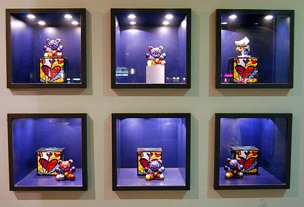 Showcase Cabinet Painting Toys Dolls Art Six Squar