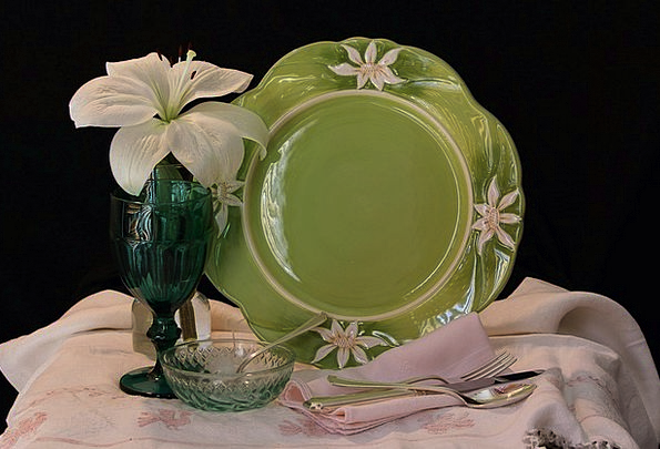 Still Life Eating Plate Dining Linen Dish Spoon Gl
