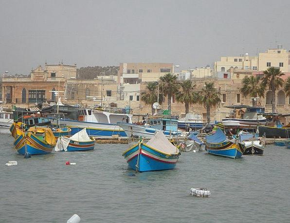 Port Harbor Marsaxlokk Malta Boats Ships Uzzus Fis