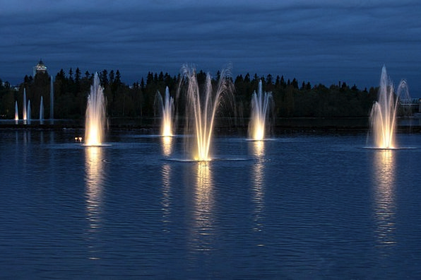 Night Nightly Landscapes Twilight Nature Fountains