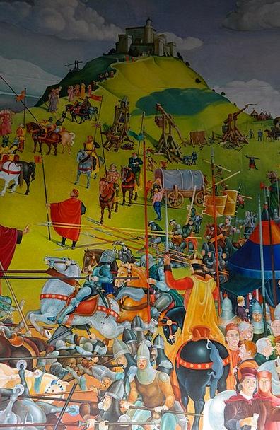 Painting Landscapes Cavalier Nature Battle Fight K