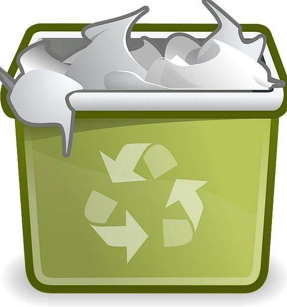 Trashcan Wastebasket Filled Garbage Full Icon Recy