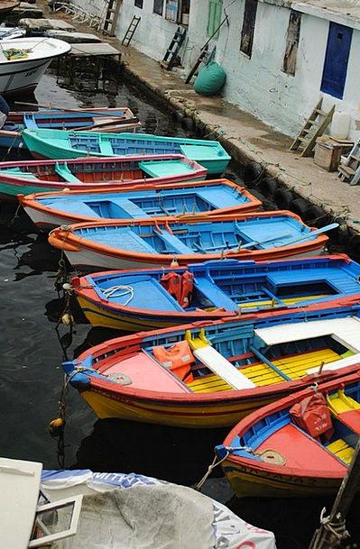 Boat Ship Interesting Color Hue Colorful Blue Sea