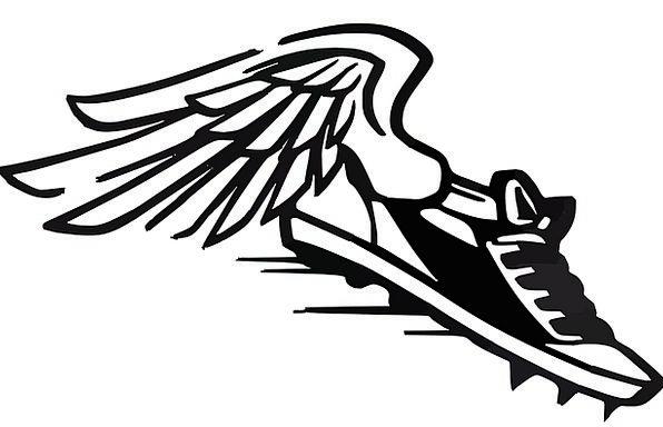 running shoes, haste, wings, annexes, speed, sports, sneaker