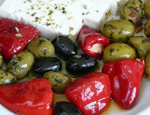 Olives Greasy Paprika Oily Feta Cheese Inserted Ch