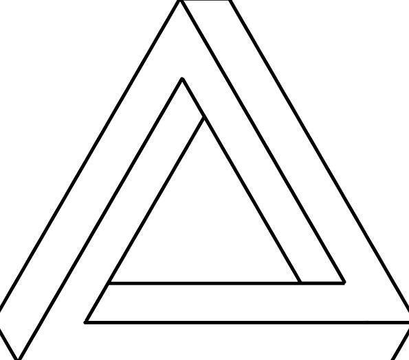 Triangular Three-sided Visual Illusion Optical Ill
