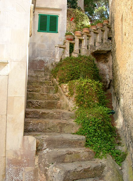 Mallorca Staircases Old Ancient Stairs Stone Pebbl