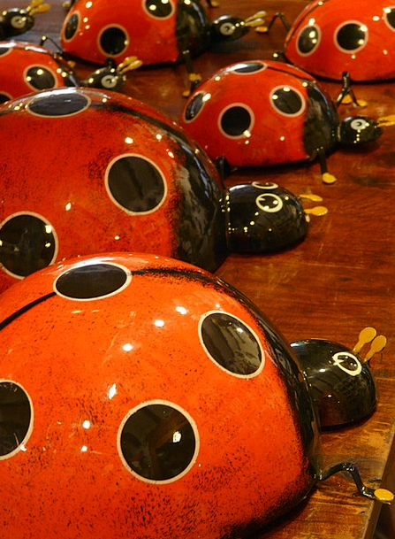 Ladybug Ceramic Earthenware Pottery Red Bloodshot